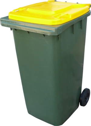 Wheelie Bin 240ltr Green With Yellow Lid Paramount