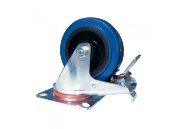 CASTOR 100MM BLUE RUBBER BRAKE 70KG