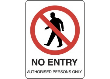 METAL SIGN NO ENTRY- 450 X 300MM