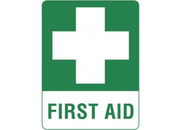 ADHESIVE SIGN FIRST AID - 120 X 140MM 4PK