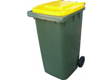 WHEELIE BIN 240LTR - GREEN WITH YELLOW LID