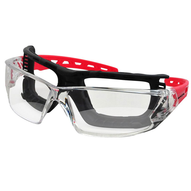 Safety Glasses Chronos Red Wdust Guard on lockable trash bin