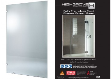 FRAMELESS SHOWER SCREEN PANEL - 1175MM