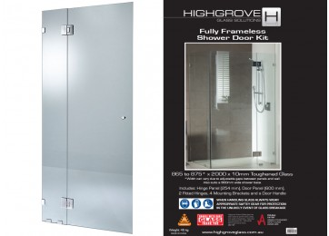 FRAMELESS SHOWER SCREEN DOOR - 875MM