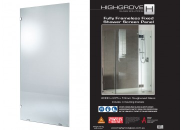 FRAMELESS SHOWER SCREEN PANEL - 875MM