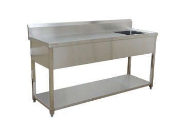 STAINLESS STEEL DELUXE BENCH / SINK 1800MM