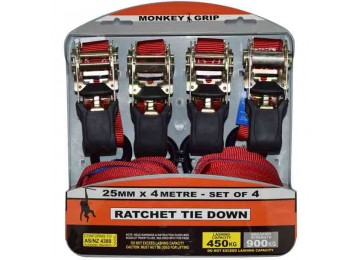 450KG RATCHET TIE DOWN SET - 4PC